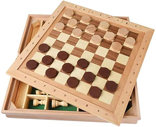 Staunton Juego de ajedrez Madera Maciza Tridimensional Staunton Chess Checkers Niños Adultos Rompecabezas Juguetes de ajedrez para Padres e Hijos Juego de ajedrez de descompresión de Ocio para niños