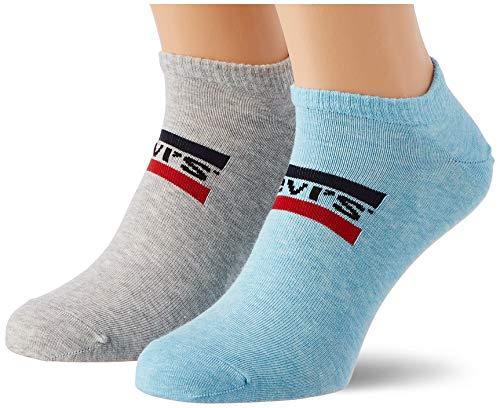 Levi's Unisex-Adult Sportswear Logo Low Cut (2 Pack) Socks, Blue/Grey Melange, 43/46