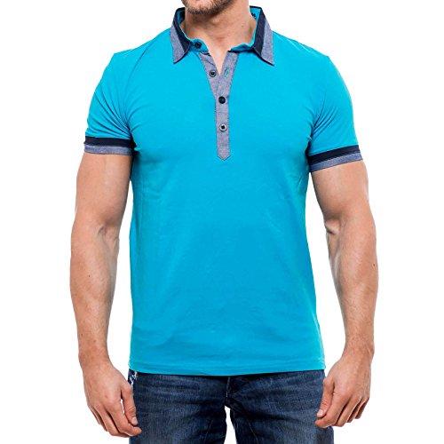 KICKDOWN Hemd Slim Fit Kurzarm Polo Shirt Herren Poloshirt T-Shirt Kd-2480, Farbe:Türkis;Größen:XL
