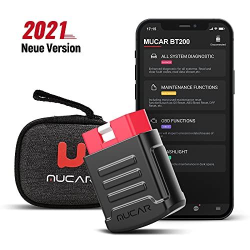 mucar OBD2 Diagnosegerät, BT200 Diagnosegerät Auto Code Reader & Scan Tools für iOS & Android, Full System obd2 Bluetooth Adapter für alle Autos mit Öl, SAS, Diverse Reset