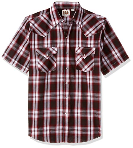 Ely Cattleman Men's Short Sleeve Plaid Western Shirt, Wine, X-Large