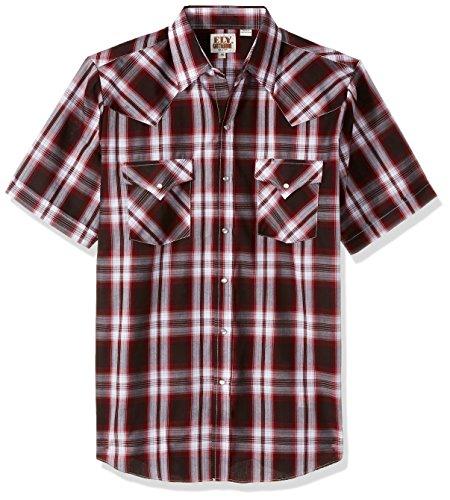 ELY CATTLEMAN Men's Short Sleeve Plaid Western Shirt, Wine, XX-Large