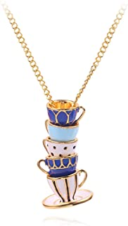 ballboU- Enamel Stacked Tea Cup Pendant Long Chain Necklace