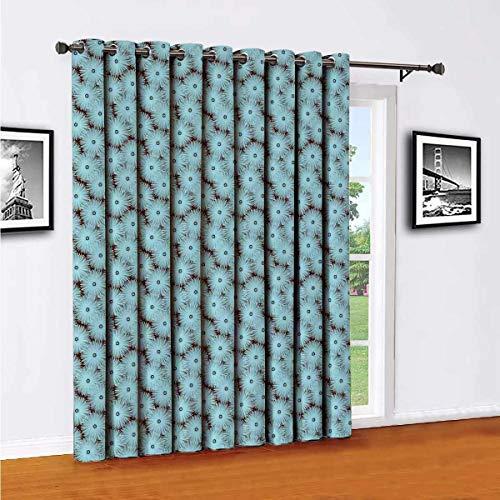 Toopeek - Cortinas opacas de poliéster con pétalos de verano, adecuadas para puertas correderas de cristal para sala de estar, cortinas térmicas de 96 x 108 pulgadas