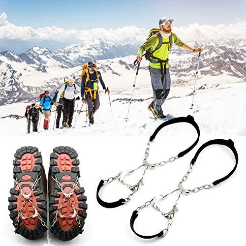 1 par de pinchos de agarre antideslizantes universales, puños de silicona para hielo y nieve Crampones para hielo y nieve, tacos de tracción para zapatos / botas con clavos antideslizantes de 6 garras
