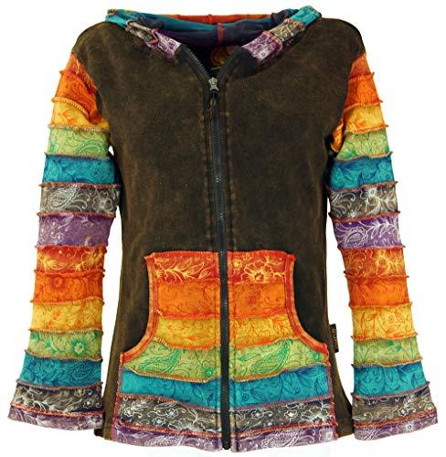 Guru-Shop Patchwork Stonewash Regenbogen Jacke Zipfelkapuze, Goa Jacke, Damen, Modell 5, Baumwolle, Size:S/M (36), Boho Jacken, Westen Alternative Bekleidung