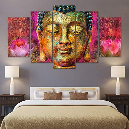 QAZWSY Hd Wandmodulaire Pictures Art Home Decoration Poster 5 panelen woonkamer gedrukt op canvas schilderij 30x50 30x70 30x80cm Frame
