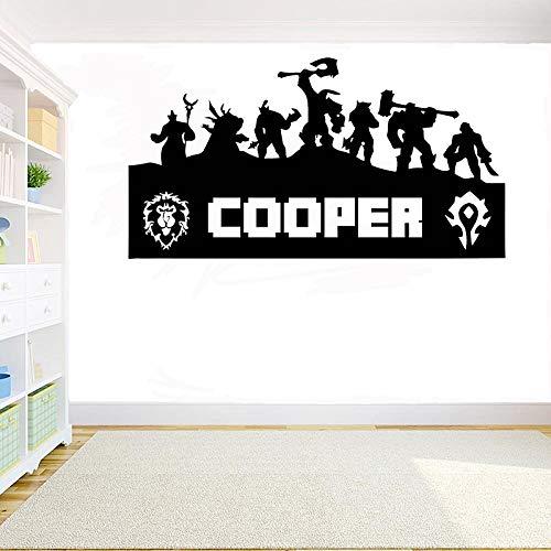 Nombre personalizado Gamer 3D Juego en línea Bestia Guerra mundial artesanía Logotipo de personaje Calcomanía de vinilo Etiqueta de la pared Niños Dormitorio Sala de juegos Decoración Arte Mural