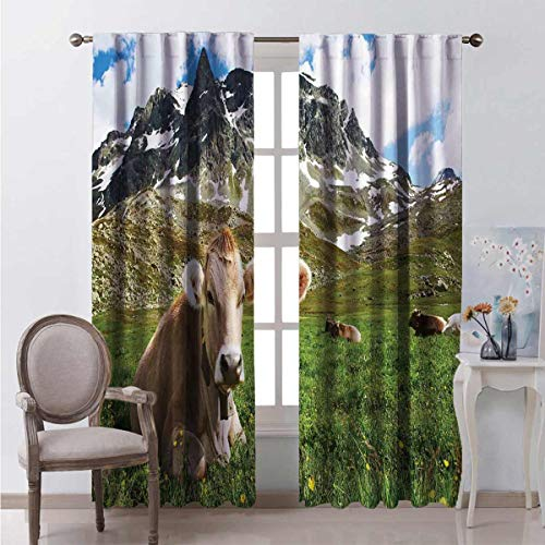 Toopeek Shading Insulated Curtain Alpine Mountain Milk Cow Soundproof Shade W52 x L54 Inch
