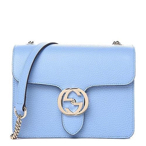 Gucci Interlocking GG Leather Silver Medium Bag mineral blue Handbag Italy New