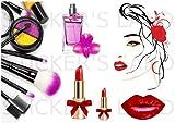 Planche stickers maquillage muraux mural scrapbooking enfants adultes maison cuisine salle de bain salon chambre bureau mur porte lit meuble vitre miroir boite mug autocollant waterproof A4