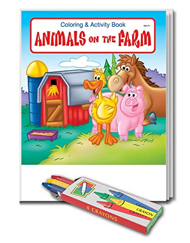 25-Pack - Animals on The Farm - Coloring and Activity Books for Kids, with Crayons - Creative & Educational Gifts for Girls and Boys - School Supplies - Inexpensive Handouts - Games & Puzzles