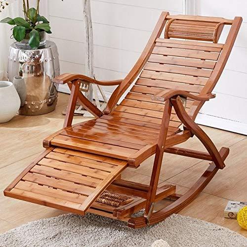 HMZJXZ Bambú mecedora de la casa balcón mecedora silla reclinable adulto descanso de almuerzo...