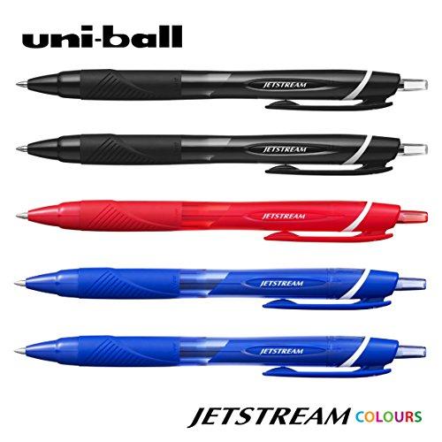 Uni-Ball–JETSTREAM SXN-150–0.7mm penna a sfera retrattile [5confezione = 2x nero, 2x blu, 1x rosso]