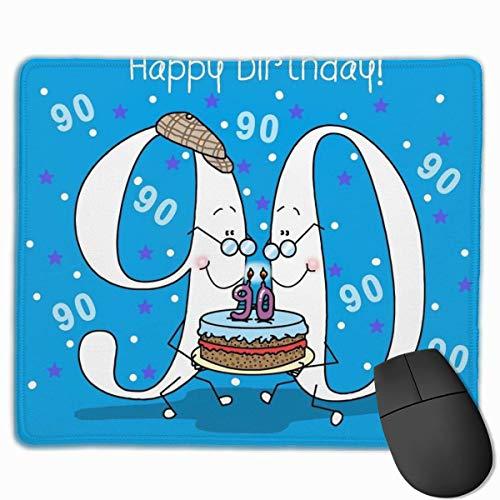 Alles Gute zum Geburtstag 90 rutschfeste personalisierte Designs Gaming-Mauspad Schwarzes Stoff Rechteck Mousepad Art Naturkautschuk-Mausmatte mit genähten Kanten