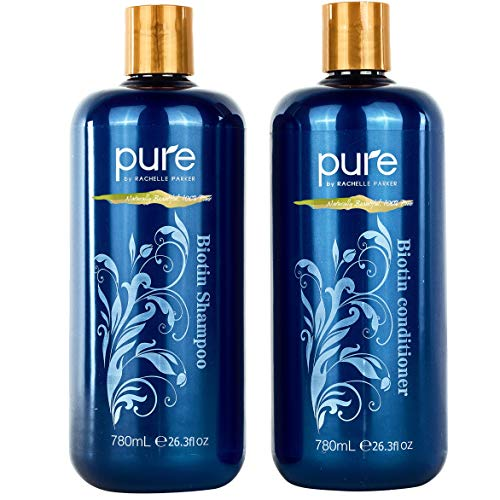 Price comparison product image Biotin Shampoo and Conditioner Set for Thicker,  Healthier Hair. Volumizing Stimulating Shampoo Conditioner Set for All Hair Types. Sulfate Free Shampoo Set Organic Ingredients!