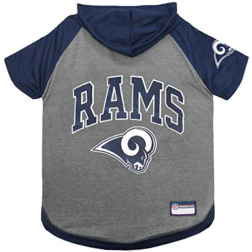 NFL Los Angeles RAMS Hoodie for Dogs & Cats.   NFL Football Licensed Dog Hoody Tee Shirt, X-Small  Sports Hoody T-Shirt for Pets   Licensed Sporty Dog Shirt.