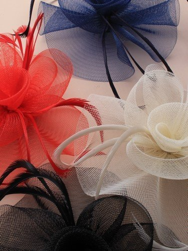 looped net with centre swirl fascinator on a clip and brooch pin. in black/red/navy and cream.[Black] by Mias Accessories