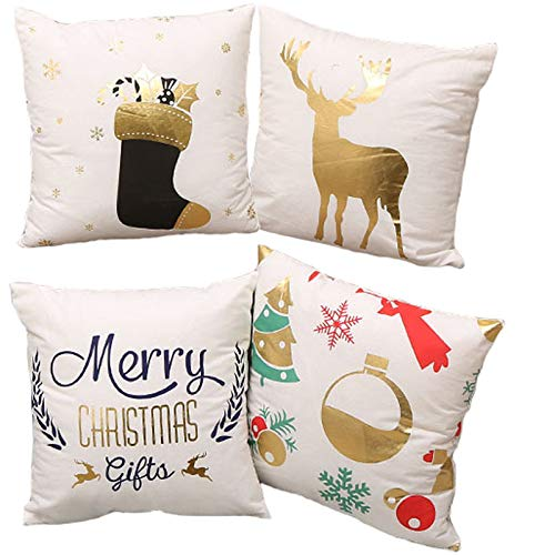 TUOKAY 4pcs Gold Christmas Decorations Pillow Covers 18x18 Soft Fabric Gold Pillow Cases
