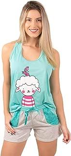 Pijama Short Doll Feminino Tal Mãe, Verde Água
