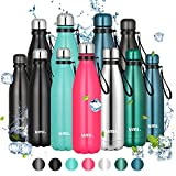 Amazon Brand - Umi Botella Agua Acero Inoxidable, Termo 500ml, Sin BPA, Islamiento de Vacío de Doble Pared, Botellas Frío/Caliente, Reutilizable para Niños, Colegio, Sport, Bicicleta (Rosado)