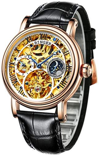 B BINGER Skelett Uhren Herren Automatik Selbstaufzug Mechanische Leder Armband(Golden und weiß)