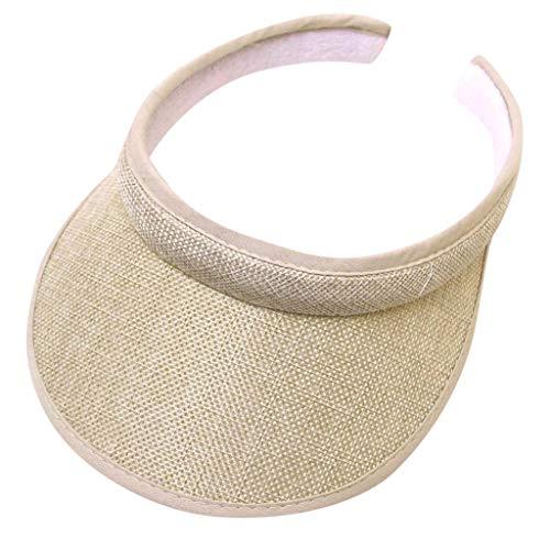 TUDUZ ♛Visor mit Spange in 15 Farben♛ Damen und Herren Golf Visier Strand Stroh Sonnenhut Unisex Visoren Hüte(A-Beige)