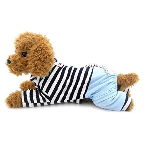 Ranphy Gestreifter Jumpsuit für kleine Hunde mit Hose, Bequeme Baumwolle Haustierkleidung Katzen Bekleidung Schlafanzug PJS Shirt Jungen Jammies Hündchen Pullover Blau XL