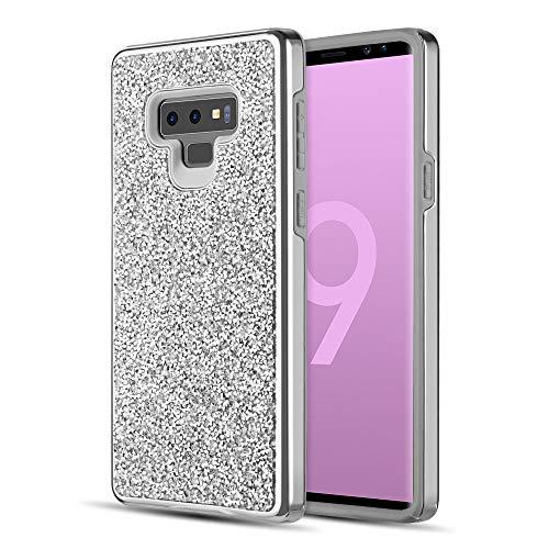 Luxmo Funda para Samsung Note 9 Protector Diamante con Piedras Autenticas Brillantes, color Plata