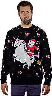 Santa Riding Unicorn Funny Ugly Christmas Sweater Men Women Holiday Sweater
