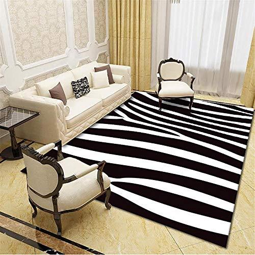 Alfombra alfombras salón El Agua de la Alfombra Rayada Blanca Negra se Lava la Sala de Estar Suave y Sucia. Alfombra Pasillo Dormitorio Juvenil 60*90cm