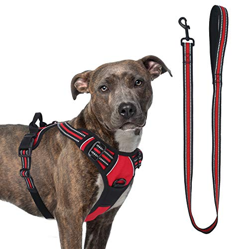 voopet Dog Vest Harness, No Choke Front Lead Dog Reflective Harness No Pull Adjustable Dog Harness Soft Padded Pet Vest with Easy Control Handle and Dog Leash for Small to Large Dogs