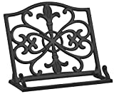 Home Basics Cast Iron Fleur De Lis Cookbook Stand, Black