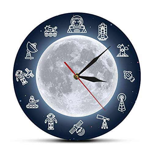 """Wall Clock Pattern Outer Space Astronaut Modern Wall Clock Space Travelling Round Time Clock Wall Watch Scientist Dreamer Galaxy Wall Decor30CM.-12"""""""