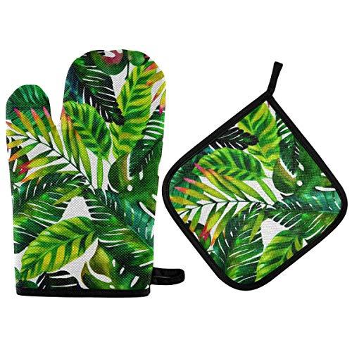 Juego de manoplas y agarraderas de hoja de palma verde para horno, resistentes al calor, para encimeras de cocina, alfombrillas seguras, guantes para horno, agarre antideslizante para barbacoa