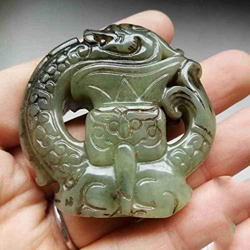 ZHIBO Old jade dragón antiguo dragón jade bestia cara de jade botella pequeña adornos de mano