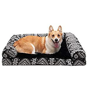 Furhaven Pet Dog Bed – Plush Kilim Southwest Home Decor Pillow Cushion Traditional Sofa-Style Living Room Couch Pet Bed with Removable Cover for Dogs and Cats, Black Medallion, Large