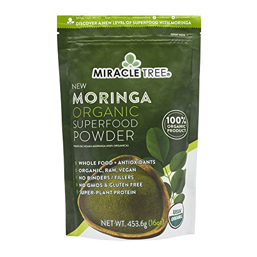 Miracle Tree's 100% Organic Moringa Superfood Powder | Smoothies, Baked Goods, Lattes | 16oz. (1.0lbs) Pouch