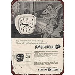Retro Vintage Decor Metal Tin Sign,12x16in,1953 GE Alarm Clock General Electric Vintage Retro Home Decoration Metal Signs Art Decor Tin Sign Posters for Home