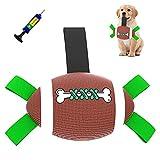 Ballon de rugby pour chien de petite et moyenne taille - Jouet interactif pour chien - Ballon de football avec bouteilles de préhension, pompe à ballon et aiguille - Jouet d'eau flottant