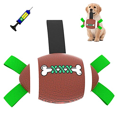 Rugby Hundeball für kleine und mittelgroße Hunde Interaktives Hundebälle Hundespielzeug Fußball mit Greiflaschen Ballpumpe und Nadel Hund Wasserspielzeug Schwimmender Ball
