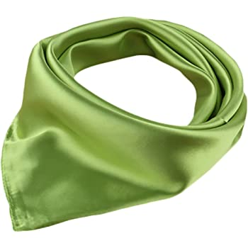 """X&F Women's Solid Stain Charmeuse Neckerchief Square Scarf 23"""" 23"""""""