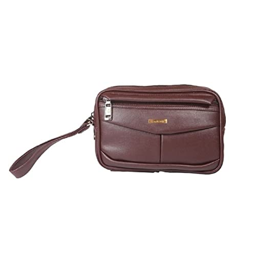Handcuffs Cash Pouch/Money Carrying Pouch/Luggage/Multipurpose Travel Pouch Foam Leather (Brown)
