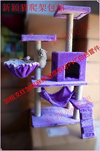 gengxinxin Kratzbaum Für Katzen Kletterbaum Für Katzen Stabiler Kratzbaum Mit Fett Leinen Fett Rohr Katze Kletterrahmen Katzennest Spielzeug Katze Stand Katze Kratzbrett Katzenbaum-violett
