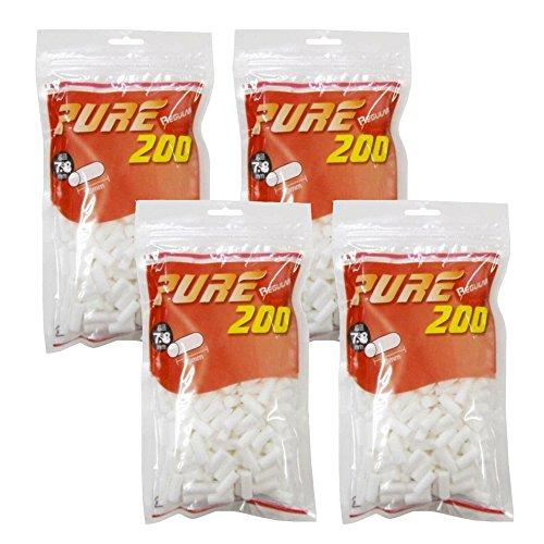 pure ピュアレギュラー 手巻きタバコ用フィルター200個入りx4パック シャグ 喫煙具