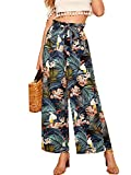 Milumia Women Belted Frilled Waist Tropical Print Boho Wide Leg Palazzo Pants Blue Medium