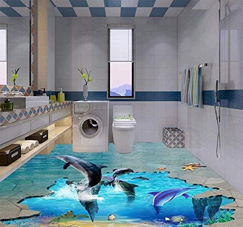 Mural de vinilo para suelo, papel tapiz, 3D Dolphin Play in Water, impermeable, antideslizante, baño, autoadhesivo, para pintura de suelo, papel tapiz, TV, decoración de pared, papel Mural-200x140 cm