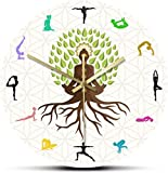 Reloj De Pared Reloj De Pared Árbol Grande Con Pose De Loto Reloj De Pared Decorativo Energía Natural Para Meditación Arte De Pared Estudio De Yoga Árbol De La Vida Reloj De Pared Con Estampado Colori