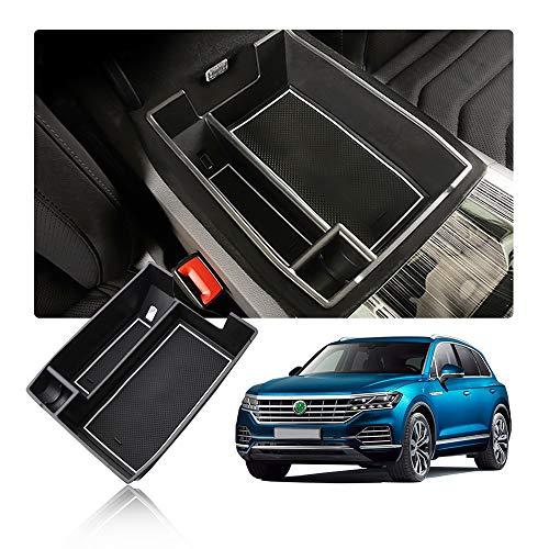 YEE PIN Caja de Almacenamiento de coche Touareg 3 CR SUV 2019, accesorios para coche , consola central, reposabrazos, organizador con alfombrilla antideslizante