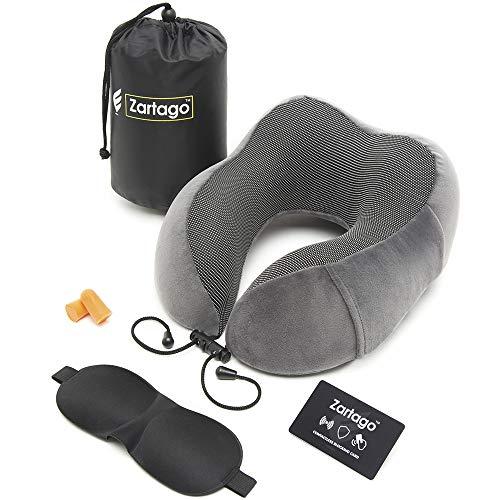 ZARTAGO Almohada Viaje + Tarjeta RFID | Cojin Cervical Ergonomico para Cuello | Set de...